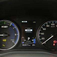 Rechts der übliche Tacho, links die Kombianzeige für den Lade- und Entladestrom sowie die Leistungsabgabe des Verbrennungsmotors. © Mitsubishi