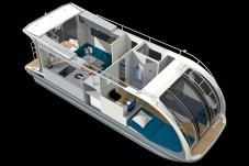 Departure One selbst ist 7,8 Meter lang und hat innen eine Stehhöhe von zwei Meter. Es bietet neben der variablen Nutzung auf Land oder Wasser im Wohnbereich bis zu vier Schlafplätze, eine Küche, ein WC inklusive Dusche sowie eine halb überdachte Terrasse am Heck. Foto: Auto-Medienportal.Net/Caravanboat