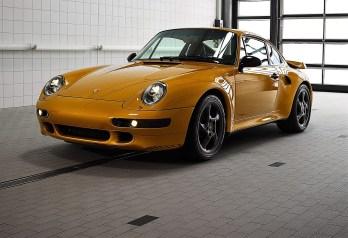 """""""Project Gold"""": Porsche hat als Einzelstück noch einmal einen 911 Turbo (Typ 993) mit luftgekühltem Motor gebaut. Foto: Auto-Medienportal.Net/Porsche"""