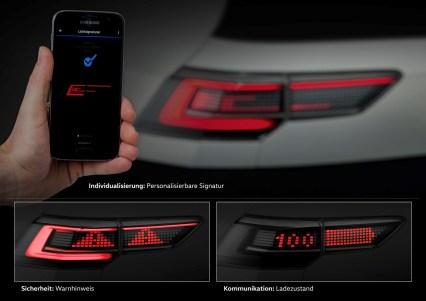 Mit der Matrix-SBBR-Leuchte können über die Heckleuchen Informationen weitergegeben werden. Foto: VW