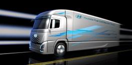 Für ein SUV wie den Nexo, besonders aber für Omnibusse und Lastwagen ist die Wasserstoff-betriebene Brennstoffzelle daher die vernünftigere Lösung. Hier der FCEV Cargo Truck. Foto: Auto-Medienportal.Ne/tHyundai