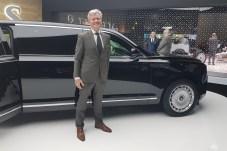 Aurus-Chef Franz Gerhard Hilgert hat Grund zur Freude. Er präsentiert auf dem Genfer Automobilsalon 2019 eine komplett neue russische Automobilmarke im Luxus-Segment. © Jutta Bernhard / mid