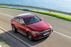 Mercedes-Benz GLC Coupé (C253), AMG Line, 2019, designo hyazinthrot metallic, Polster Leder designo platinweiß pearl / schwarz. Foto: Auto-Medienportal.Net/Daimler