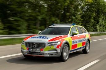 Lebensretter auf Achse: Mit diesem Crossover-Kombi startet das Uniklinikum Heidelberg ein Pilotprojekt. © Volvo