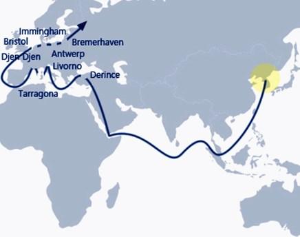 Die Seeroute von Korea nach Bremerhaven. Foto: Auto-Medienportal.Net/Hyundai
