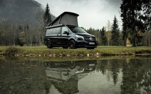 Der neue Mercedes-Benz Marco Polo jetzt mit MBUX und MBAC – Exterieur, Cavansitblau metallic. Foto: Auto-Medienportal.Net/Daimler