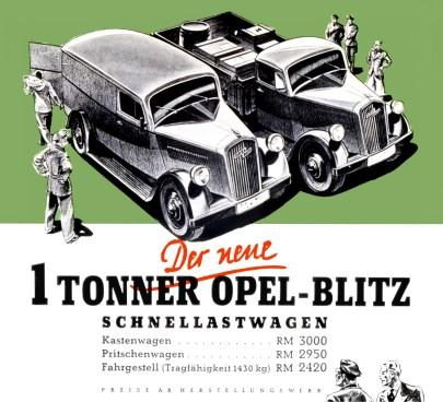 Opel-Blitz-Plakat (1,0-to) von 1938. Foto: Opel