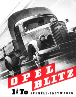 Opel-Biltz-Prospekt, 1948. Illustration: Bernd Reuters