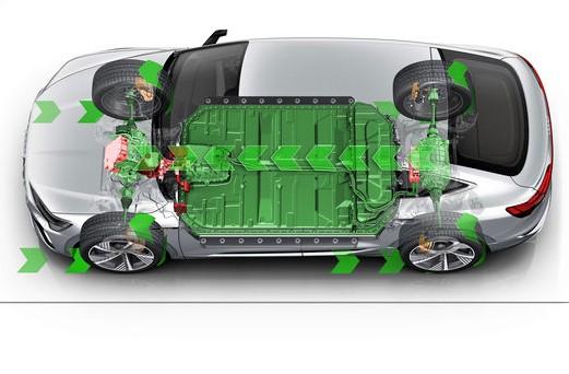 Rund 2.100 Nm beträgt das Differenzmoment auf Radebene, das bei den rein elektrisch angetriebenen Audi e-tron S bei dynamischer Kurvenfahrt an den Hinterrädern anliegen kann. Jeder der zwei hinteren E-Motoren treibt ein Rad einzeln an. Im Normalfall erhält das kurvenäußere Rad, wegen seiner besseren Traktion, erheblich mehr Moment als das entlastete kurveninnere Rad. Das steigert Fahrdynamik und Kurvengeschwindigkeit erheblich. © Audi