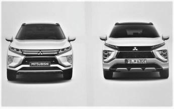Die Front des Mitsubishi Eclipse Cross PHEV - links alt, rechts neu. © Mitsubishi