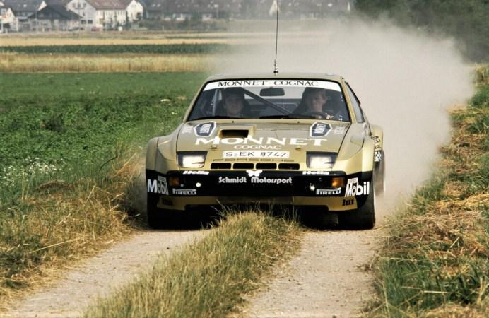Walter Röhrl und Christian Geistdörfer im Porsche 924 Carrera GTS Rallye (1981). Foto: Auto-Medienportal.Net/Porsche