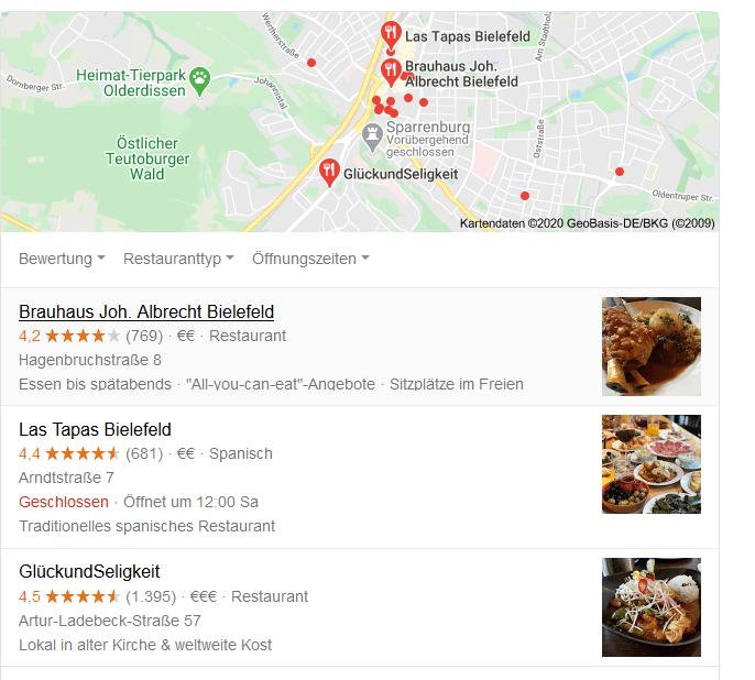 Anzeige Local Pack Googlesuche