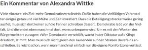Kommentar Alexandra Wittke