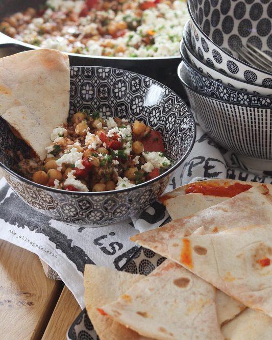 Speiseplan, Chilli con Carne, Kichererbsen, Feta, Hackfleisch, Weizentortillas, Familienessen