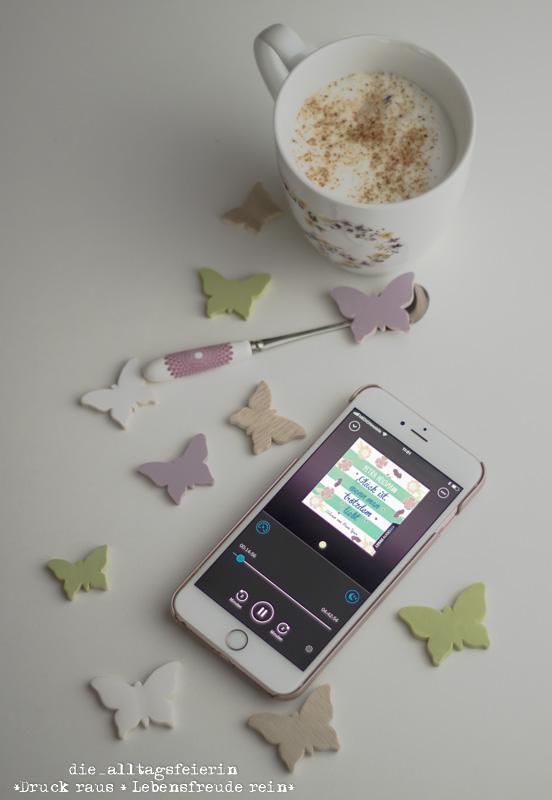 Bookbeat, Glück ist, wenn man trotzdem liebt, Petra Hülsmann, Hörbuch, Hörbuchapp, Kaffee, Schmetterling, Hörbücher,