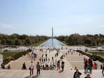 Sein Blick auf das Washington Monument