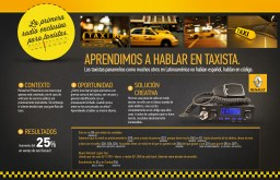Radio en Código - Renault Taxi - The first cab driver's exclusive radio spot. A spot using cab driver's own language (radio codes) announcing a promo and engaging with them.