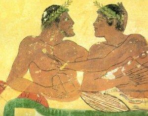 a prova do que pintura grega representando um casal 480 bc