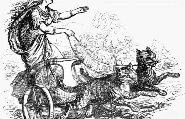 Freja in her carriage pulled by cats. Picture by Ludwig Pietsch, 1865. (Wikimedia Commons)