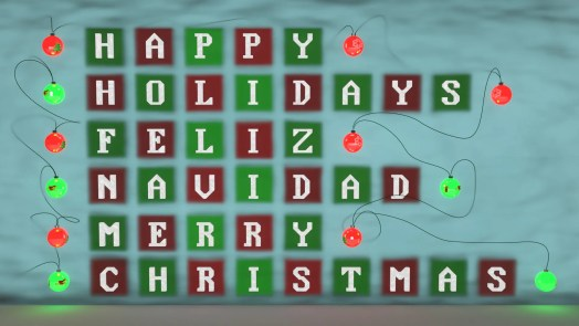 Image text reads: Happy Holidays, Feliz Navidad, Merry Christmas.