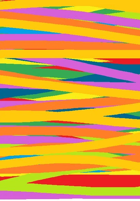 From my expressionist phase, many bright horizontal lines overlapping, mainly in yellows and pinks and greens.