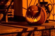 Foto eines Halloweenkürbis.
