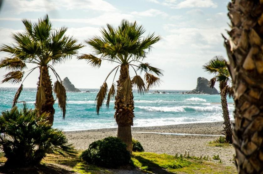 Foto vom Strand in Almuñécar mit Palmen.