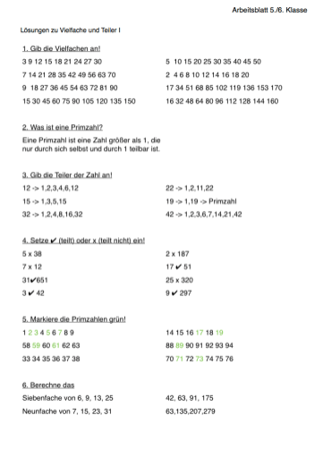Arbeitsblatt MatheVielfache und Teiler