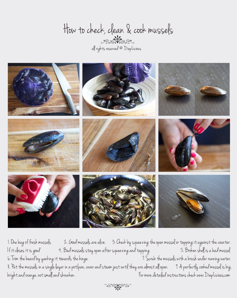 how to check, clean and cook mussels
