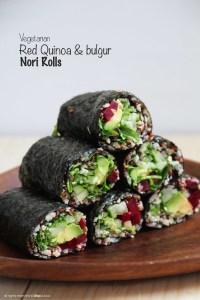 red quiona-bulgur rolls