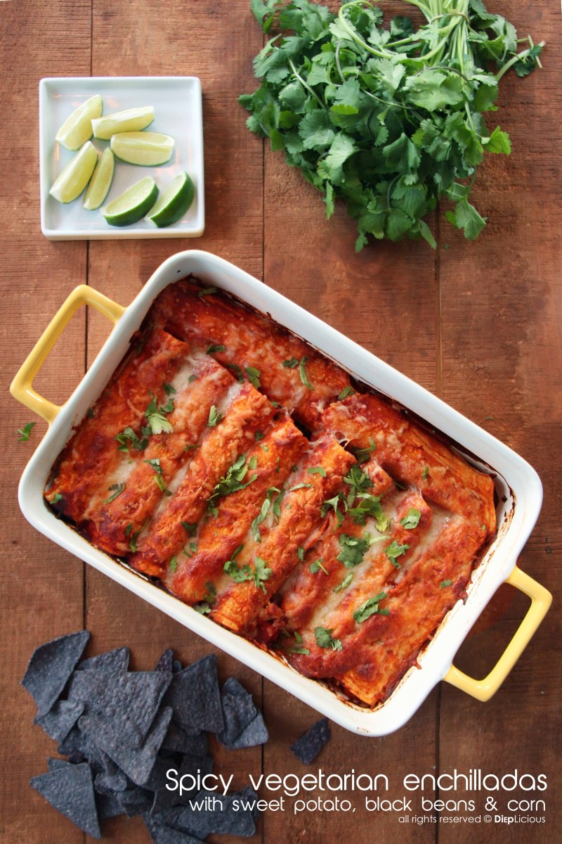 SPICY SWEET POTATO AND BLACK BEAN ENCHILADAS
