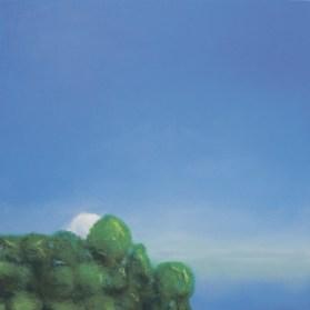»la petite blanche avec vert, seulement dans bleu« (»die kleine Weiße mit Grün, alleine im Blau«)