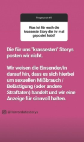 "Screenshot eines Story-Highlights auf ""Horrordatestorys"". Foto Horrordatestorys, Screenshot vom 16. Nov. 2019"