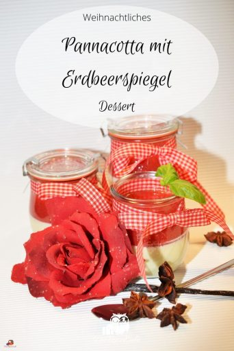 Pinterest Pin Pannacotta mit Erdbeerspiegel