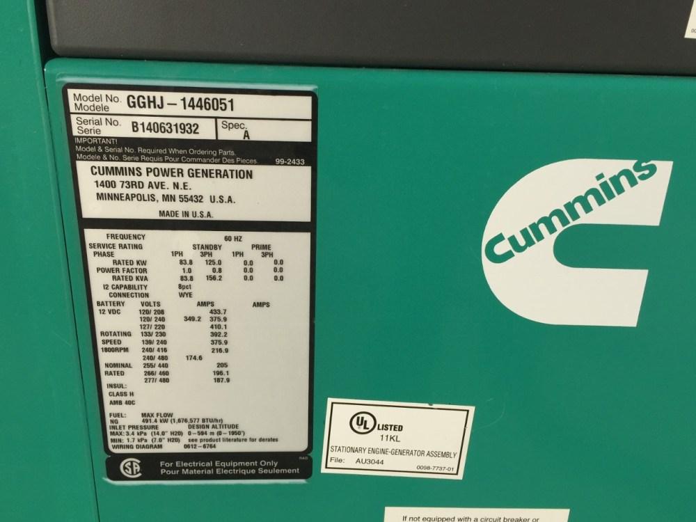medium resolution of  125 kw cummins onan generator