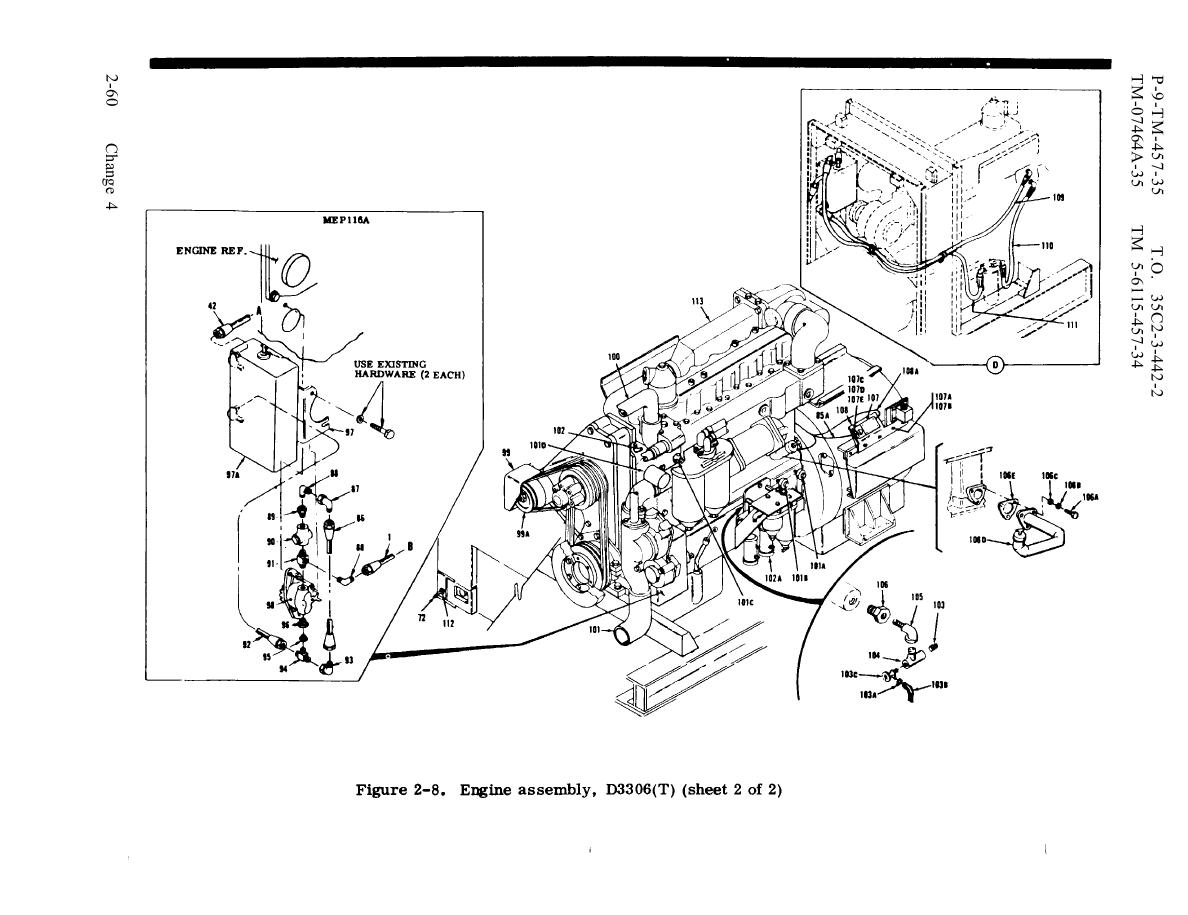 Figure 2-8. Engine assembly, D3306(T) (sheet 2 of 2)