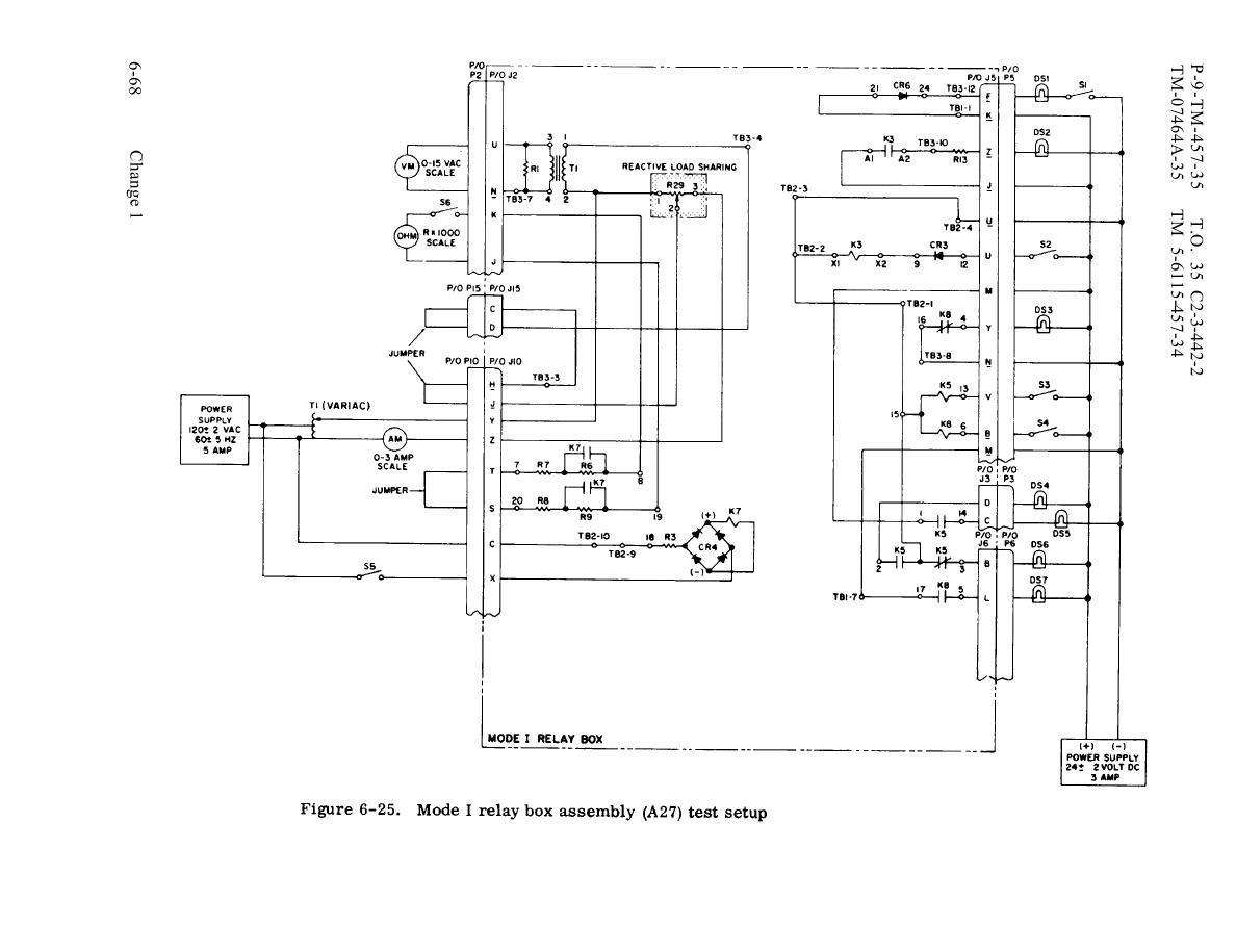 Figure 6-25. Mode I relay box assembly (A27) test setup