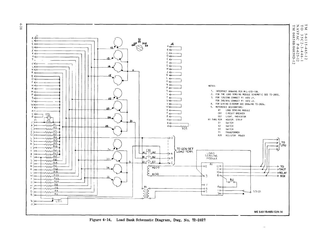 Figure 4-14. Load Bank Wiring Diagram, Dwg. No. 72-2827