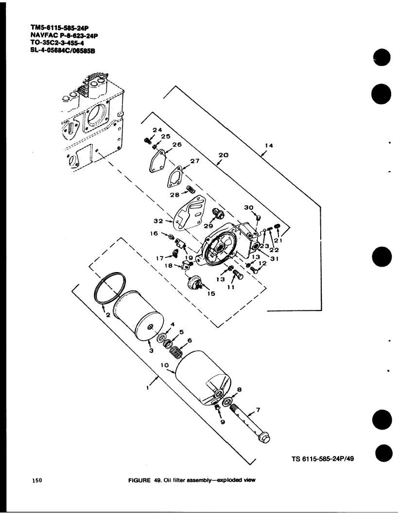 FIGURE 49. Oil filter assembly-exploded view