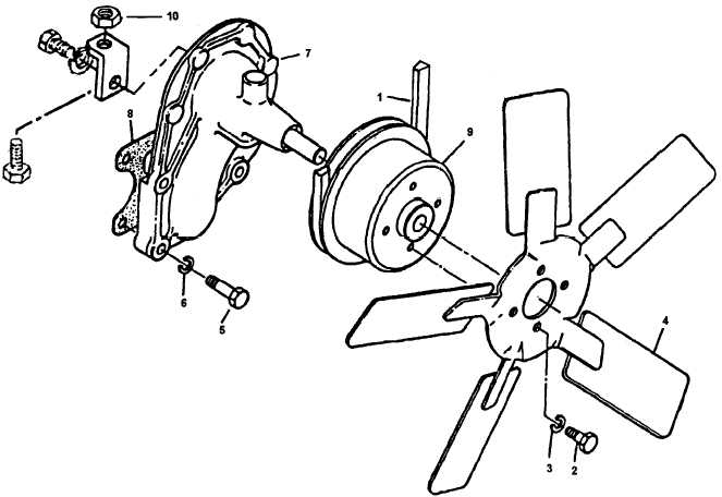 Figure 4-25. Water Pump, Cooling Fan and V-Belt, Removal