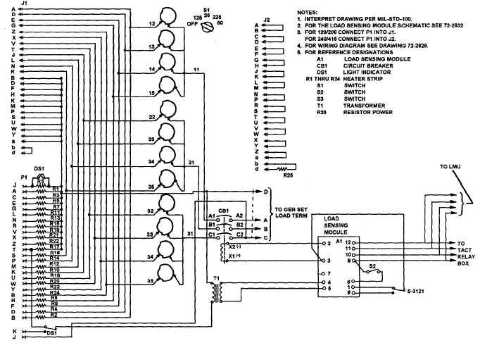 Figure 5-14. Load Bank Schematic Diagram, Dwg. No. 72-2827