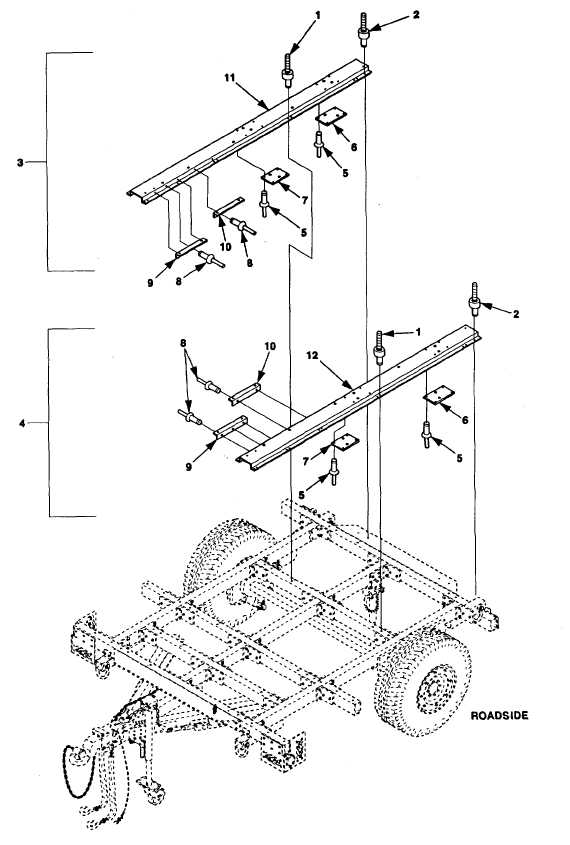 Figure F-29. High Mobility Trailer, Mounting Rails and