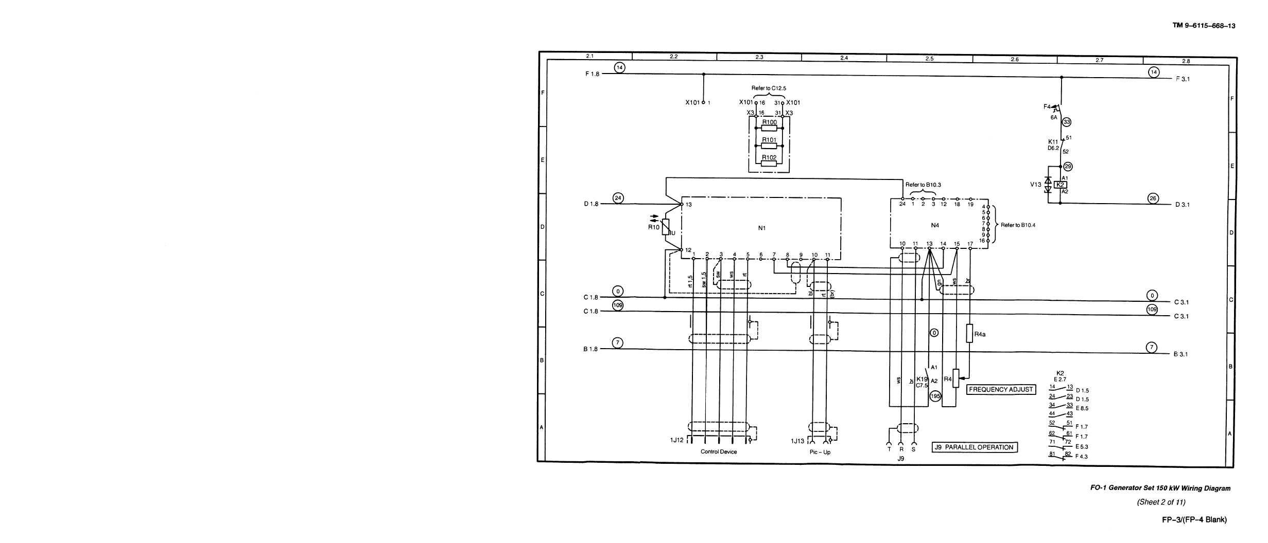 FO-1. Generator Set 150kW Wiring Diagram (sheet 2 of 11)