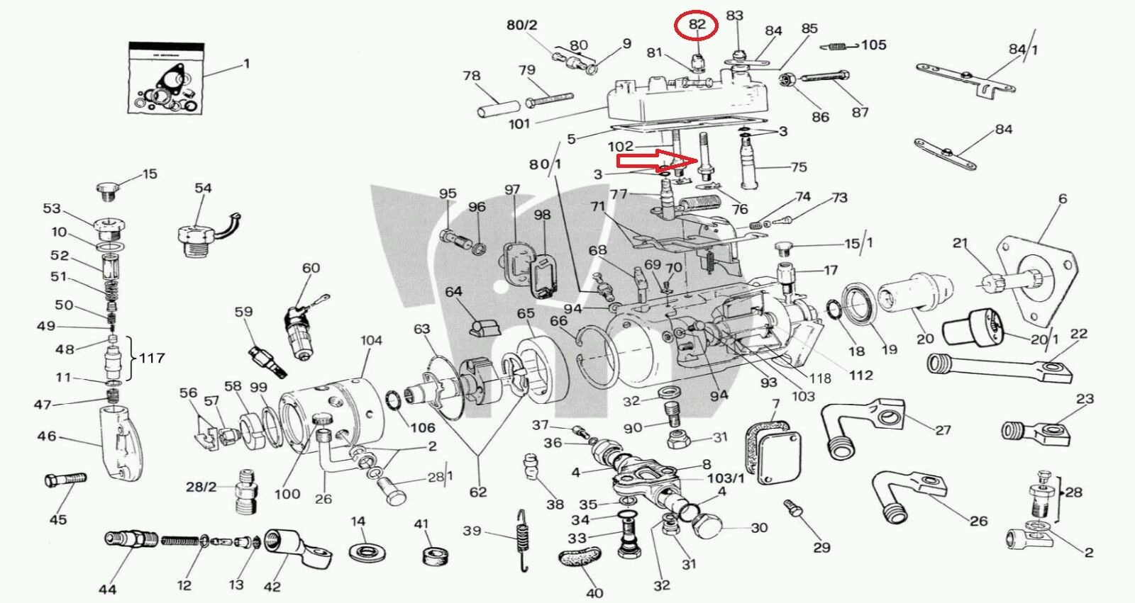 Cav Dpa Top Cover Stud Bolt Screw Nutsel Injection