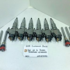 (FULL SET OF 6) 2018 Cummins ISL 8.3 DIESEL FUEL INJECTORS / NOZZLES 2872331 OEM