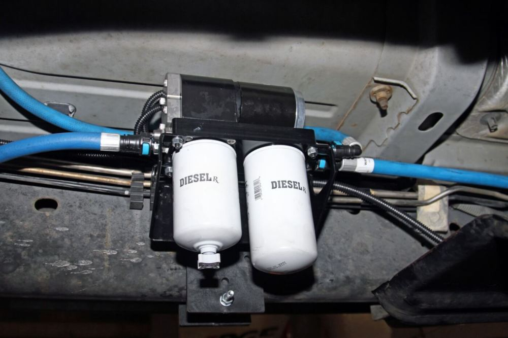 medium resolution of the completed airdog pump and filter system is mounted high on the inside of
