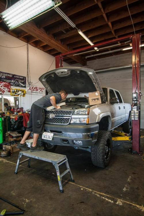 small resolution of master tech ethan barker of left coast diesel helped us install the trio of