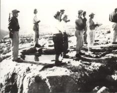 """Die """"Bergleute"""", Ansiedler des Kibbutz Kfar Etzion 1943"""