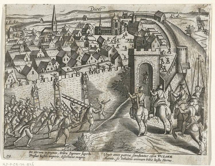 Verovering van Diest door het Staatse leger onder de Spaanse kapitein Alonso Vanegas, 9 juni 1580. De stadspoort naar Zichem wordt geopend zodat de Staatse ruiters naar binnen kunnen, Links beklimmen soldaten met ladders de muren van de stad
