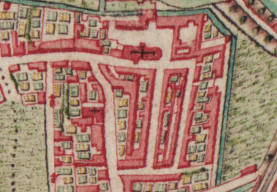 Begijnhof en begijnhofkerk op de Ferarriskaart uit 1777